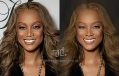 Tyra Banks Photoshop Makeover - the before and after of celebrity retouching and airbrushing ... for REAL makeovers for REAL women contact www.stylecreation.com.au !