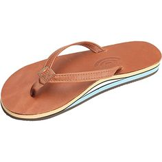 99fee85461b5 Rainbow Sandals Womens 2 Tone Leather Double Stack Narrow Strap TanBLUE 10   gt  gt