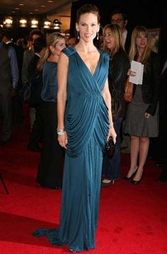 Hilary Swank Chiffon Prom Gown Formal Evening Dress Amelia Movie Premiere 2009 Red Carpet