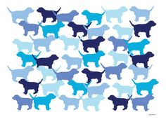 Blue Puppies Pattern Poster por Avalisa na AllPosters.com.br