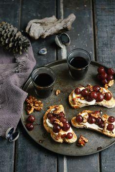 Pomegranate Roasted Grapes on Bruschetta with Soft Feta and Caramel Walnuts