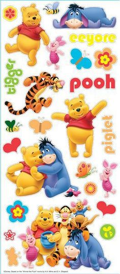 EK Tools Pooh And Friends Large Scrapbooking Stickers - Disney. Winnie The Pooh scrapbooking stickers including Piglet, Tigger, and Eeyore.