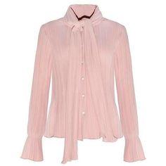 PINK BLOUSE FLARE SLEEVES COLLAR BOW SIZE (75 RON) ❤ liked on Polyvore featuring tops, blouses, flared sleeve top, collar top, bow collar blouse, collar blouse and bell sleeve blouse