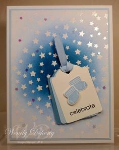 It's a Boy card (Stampin' Up Something for Baby, Embellished Events. DP only sponged in blue - CAS card by Wendy Doherty)