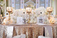 Gold Sequin Wedding Table  Photography: Milanés Photography Read More: http://www.insideweddings.com/weddings/white-silver-gold-wedding-at-the-biltmore-ballrooms-in-atlanta/680/