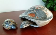 Pair of vintage hand painted red clay burnished grey Tonala, Jalisco, Mexico pottery turtles by TheHouseofHelga on Etsy