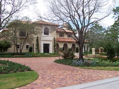 driveway Rendered Houses, Clay Pavers, Circular Driveway, Paving Stones, Pool Decks, Fort Myers, House Colors, Yard, Driveways