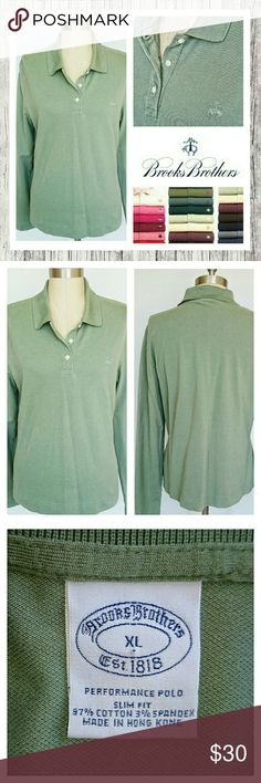 LAST CALL! Brooks Brothers Womans Polo Slim Fit Brooks Brothers Performance Polo Slim Fit Sz XL. Sage Green. Excellent condition. Sorry no trades. Brooks Brothers Tops