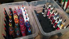 Super Idee - aus einer Box, Schaumstoff und Trinkhalmen wird eine Garnrollenbox