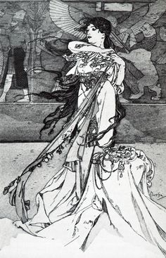 Illustration from Rama, 1898, Alphonse Mucha