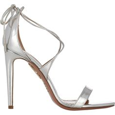 Aquazzura Women's Linda Sandals (128.830 HUF) ❤ liked on Polyvore featuring shoes, sandals, heels, aquazzura, metallic, silver, stiletto heel sandals, leather sole sandals, criss cross sandals and silver metallic sandals
