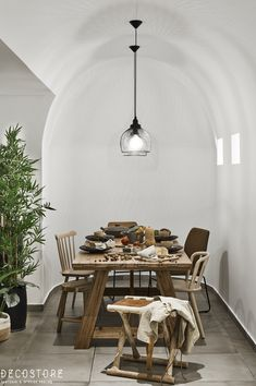 Decostore by Zorzos Co Interior Design, Luxury Interior, Teak, Stool, Dining Room, Lights, Table, Santorini Island, Suites