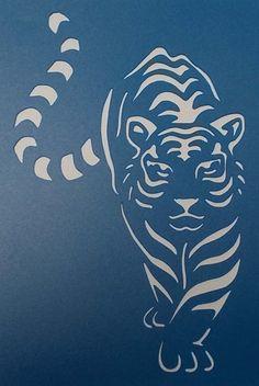 Tiger Stencil, Animal Stencil, Stencils, Stencil Art, Stencil Patterns, Stencil Designs, Stencil Templates, Tiger Silhouette, Image Chat