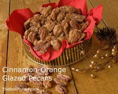 Sweet and just slightly salty, these Cinnamon Orange glazed Pecans can be addictive with their cinnamon and orange flavored coating. Christmas Desserts, Holiday Treats, Christmas Treats, Christmas Goodies, Christmas Candy, Christmas Recipes, Glazed Pecans, Candied Almonds, Appetizer Recipes
