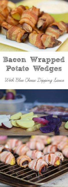 Bacon Wrapped Potato Wedges with a Blue Cheese Dipping Sauce, a perfect Game Day Appetizer #SundaySupper