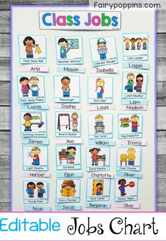 This classroom jobs chart is very popular with kids in preschool kindergarten grade and grade. It features are range of editable name labels and jobs. There are also headings included. It's easy to set up on a magnetic whiteboard or bulletin board. Preschool Job Chart, Preschool Classroom Jobs, Classroom Job Chart, Classroom Helpers, Toddler Classroom, First Grade Classroom, Preschool Kindergarten, First Grade Jobs, Classroom Jobs Board