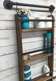 Bathroom ladder shelf, rustic bathroom shelf, industrial shelf, farmhouse shelf, cottage chic, home décor, shelf w/pipe towel bar