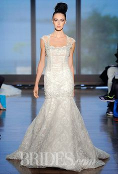 "Brides.com: Ines Di Santo - Fall 2014. ""Elene"" lace mermaid wedding dress with beaded illusion cap sleeves, Ines Di Santo"