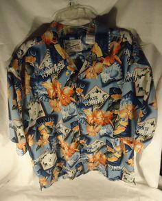 Reservoir Mens 1970s 100% Polyester Hawaiian Style Shirt  Size XL  #Reservoir #Hawaiian