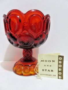 L.E Smith Moon And Stars Red/Amberina Open Candy Dish Compote Mid Century Modern #LESmith #MidCenturyModern
