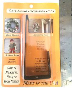 Vinyl-Siding-Decoration-Hook-Metal-Holds-20lbs-IN-OUTDOOR-NIB-FREE-SHIP-IN-US