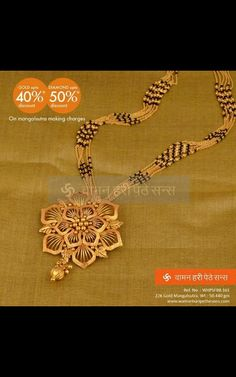 mangalsutra design of waman hari pethe Gold Mangalsutra Designs, Gold Jewellery Design, Gold Jewelry, Beaded Jewelry, Gold Earrings, Bead Jewellery, Trendy Jewelry, Diamond Jewellery, Long Pearl Necklaces