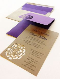 Purple and kraft rose themed wedding invites #wedding  Oooo! This, except with a butterfly instead of a rose! @melodymother