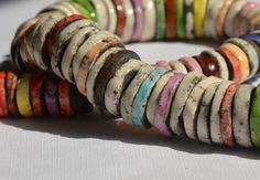 Long Necklace Raku Colorful bold ceramic disks by CeramicManya