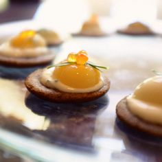 Bag Soak Eat:  Quail Egg on Buckwheat Blini with Sour Cream and Taragon #nomiku