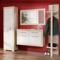 Garderobenmöbel Set Lissy (4-teilig) - Esche Dekor/Weiß Hochglanz - Schrank, Schuhschrank, Spiegel & Garderobe