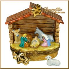 Holy Family Nativity with Barn Animals Limoges Box (Beauchamp)