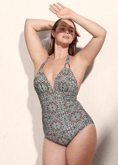 Bañador estampado mosaico - Violeta | Violeta by MANGO España