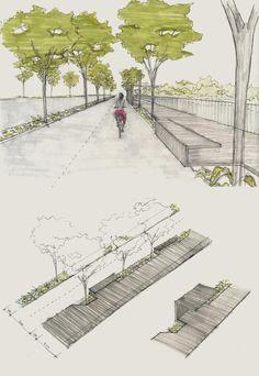 Autor desenho: Marcus Vinicius Damon Passeio + Mobiliário Urbano em Búzios hidrográfica sobre manteiga, 2011.