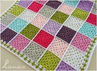 A display of blankets featured in Lanas de Ana [some made by Beatriz or Chichi, as noted]...  Estas son las frazadas que he mostrado aquí e...