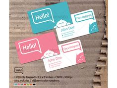 Hello! Card Printable Business Card Template