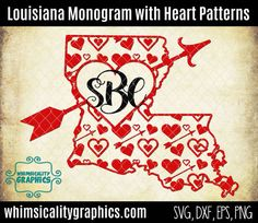 Louisiana State Shape Heart Patterns For Monogram Valentines Day with svg, dxf, png and eps Commercial & Personal Use