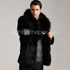 Men's Casual/Daily / Work / Plus Size Simple Fur Coat,Solid V Neck Long Sleeve Winter Black Faux Fur Thick 2017 - $64.99