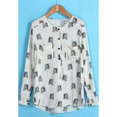 $10.09 Western Style Tiger Head Print Long Sleeve Shirt For Women