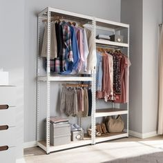 Baxton Studio Gavin White Metal 7-Shelf Closet Storage Racking Organizer