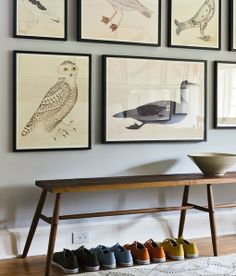 Love these bird prints. I really would love some Audubon bird prints! Decor, Best Neutral Paint Colors, Designer Paint Colors, Beautiful Houses Interior, Gallery Wall, Paint Colors, Farrow Ball, Neutral Paint Colors, Prints