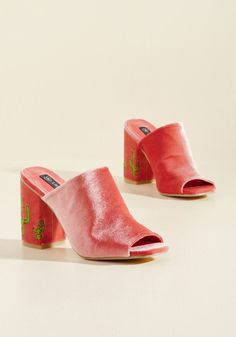 <p>You care deeply for your friends, kill it at your job, and are the portrait of achieved responsibility - so celebrate all that makes you incredible with these pink mules! The cacti-embroidered block heels and super-soft velvet of these ModCloth-exclusive kicks are the perfect way to reward all that you do.</p>