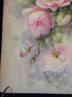 Sonie-Ames-Signed-Hand-Painted-Roses-On-Porcelain-Tile-Vintage-RARE