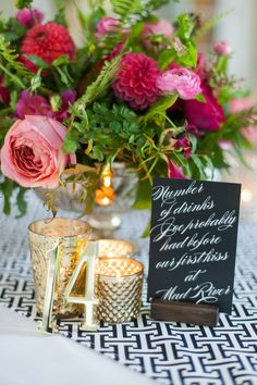 Personalized centerpieces #calligraphy Photography: Leila Brewster - leilabrewsterphotography.com  Read More: http://www.stylemepretty.com/2014/05/14/colorful-outdoor-winery-wedding/