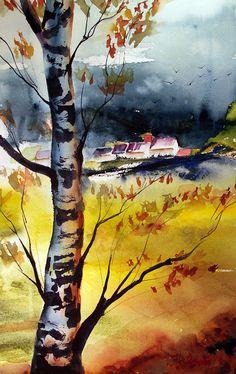 Watercolor Denmark Painting Process, Pictures To Paint, Denmark, Vibrant Colors, Watercolor, Landscape, Places, Nature, Inspiration