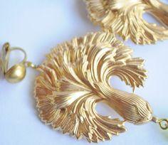 Vintage Raw Brass Earrings Art Nouveau Cornflower Czech Glass Handmade   #Handmade #DropDangle