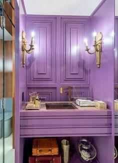 Bathroom Interior Design, Interior Decorating, Decorating Ideas, Pink Room, Bathtub, Rooms, Interiors, Purple, Bathroom Interior