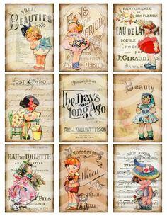 Digital Collage Sheet, Vintage Girls Printable Download, Altered Art Ephemera ATC ACEO size JPEG file. $3.75, via Etsy. by Hercio Dias