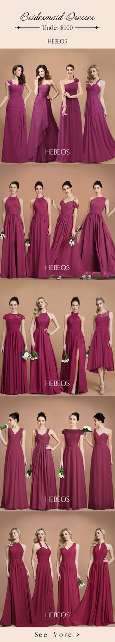 Spice up your traditional red bridesmaid dresses with burgundy bridesmaid dresses. Shop at HEBEOS.com for a wide variety of burgundy cocktail dresses and party dresses. #HEBEOS #bridesmaid