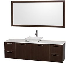 "72"" Amare Wall-Mounted Single Bathroom Vanity Set with Vessel Sink by Wyndham Collection - Espresso #BathroomRemodel #BlondyBathHome #BathroomVanity  #ModernVanity"