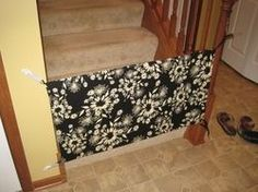 Make a baby gate without drilling into a banister: sew corner tabs onto a piece of fabric and attach to banisters using command hooks.  You could also wrap wood or cardboard in fabric to make a sturdier gate (older children or pets) or run suspension bars/curtain rods through loops on the top and bottom edges